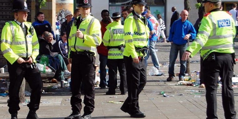 Greater Manchester Police officers in Piccadilly Gardens