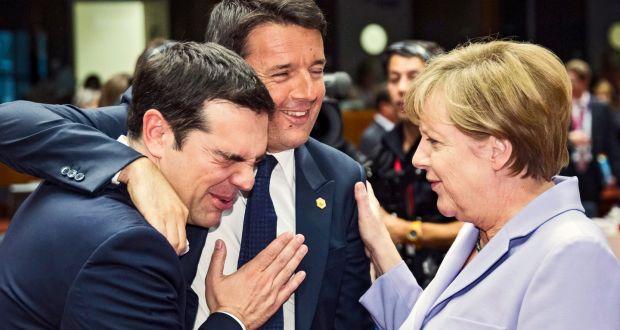 Tsipras, Matteo Renzi and Merkel