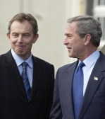 Tony Blair (left) and President George Bush in the Azores.