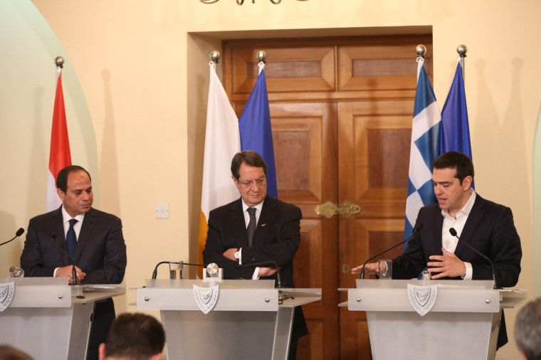 Joint press conference of the President of the Republic, Mr Nicos Anastasiades, the Prime Minister of Greece, Mr Alexis Tsipras, and the President of the Republic of Egypt, Mr  Abdel Fattah el-Sisi.