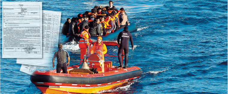 Turk coast guards guide refugees to Greek islands