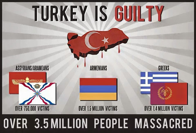 Turkey is quilty of 3 genocides