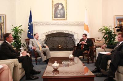 Ο Πρόεδρος της Δημοκρατίας κ. Νίκος Αναστασιάδης δέχεται αντιπροσωπεία του American Hellenic Institute (AHI), Λευκωσία 5 Μαΐου 2016.