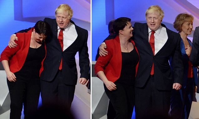 Boris Johnson (right) hugs Scottish Tory leader Ruth Davidson