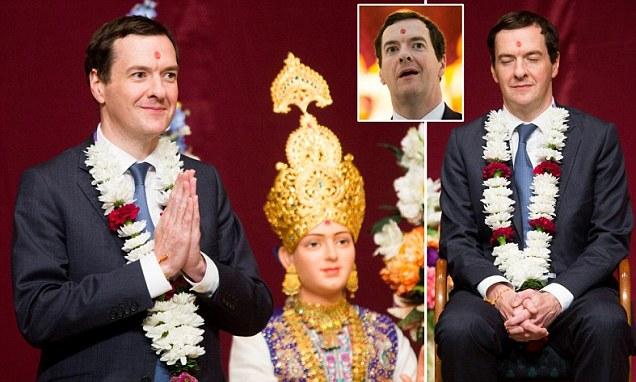 George Osborne (pictured during a visit to BAPS Shri Swaminarayan Mandir Hindu Temple in London for guidance...