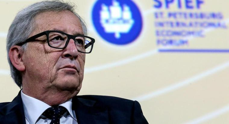 European Commission President Jean-Claude Juncker attends a session of the St. Petersburg International Economic Forum 2016 (SPIEF 2016) in St. Petersburg, Russia, June 16, 2016. REUTERS/Valery Sharifulin/TASS/Host Photo Agency/Pool  THIS PICTURE WAS PROCESSED BY REUTERS TO ENHANCE QUALITY. AN UNPROCESSED VERSION HAS BEEN PROVIDED SEPARATELY.