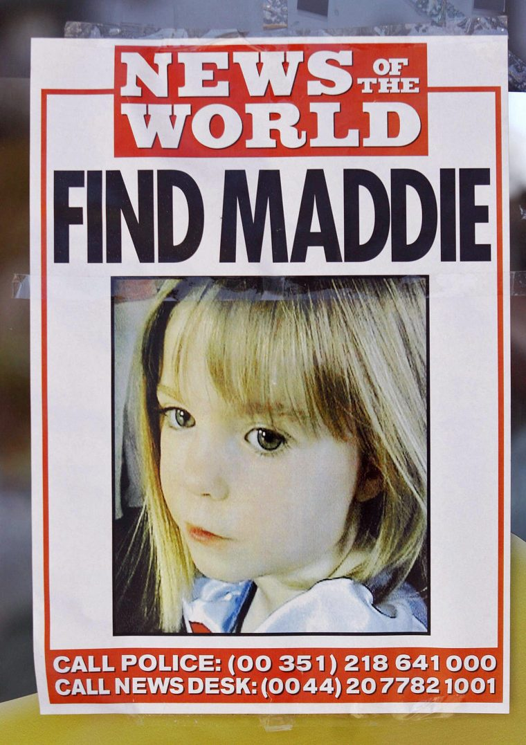 This picture taken on May 13, 2007 shows a poster displaying the police and infos desk numbers for the missing four-year-old British girl Madeleine McCann in the area of the beach resort of Lagos, in Praia da Luz, southern Portugal. Portuguese police have closed on July 1, 2008 their investigation into the disappearance of British girl Madeleine McCann who went missing last year aged three.