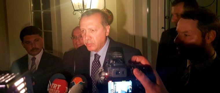 Turkish President Tayyip Erdogan speaks to media in the resort town of Marmaris, Turkey, July 15, 2016.    REUTERS/Kenan Gurbuz