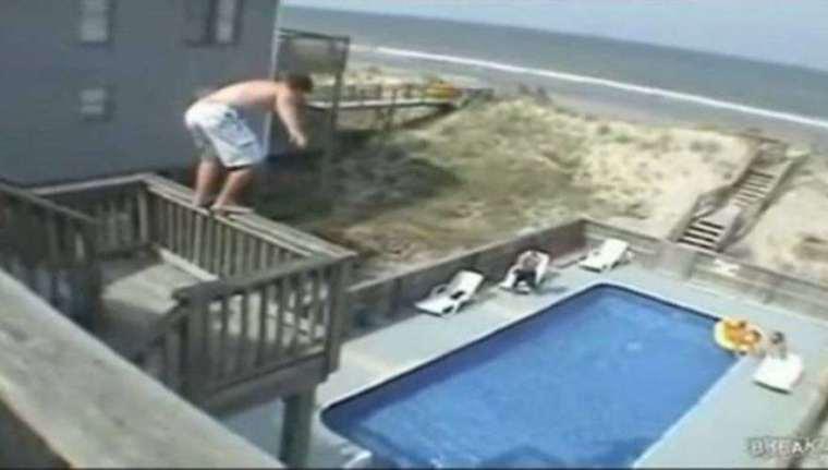 British tourist jumps to pool