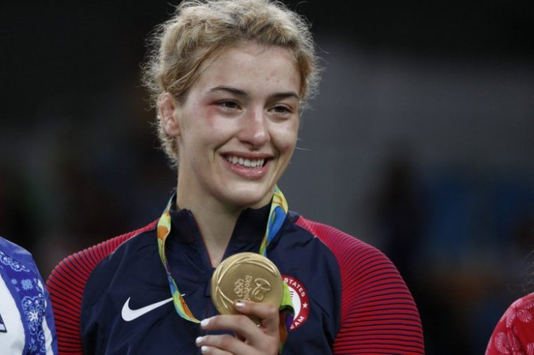 Gold medalist Helen Louise Maroulis of the USA