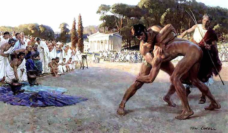 Greek Wrestlers in the Ancient Olympic Games - Tom Lovell - Great Art - History Painting - Peter Crawford
