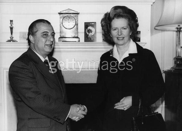 Spyros Kyprianou the Cypriot President is greeted by Margaret Thatcher at No 10 Downing Street 1980-1