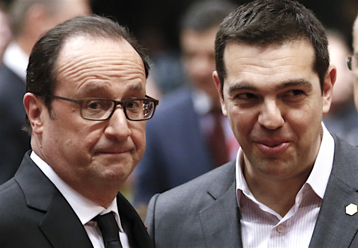French President Francois Hollande (L) chats with Greek Prime Minister Alexis Tsipras.
