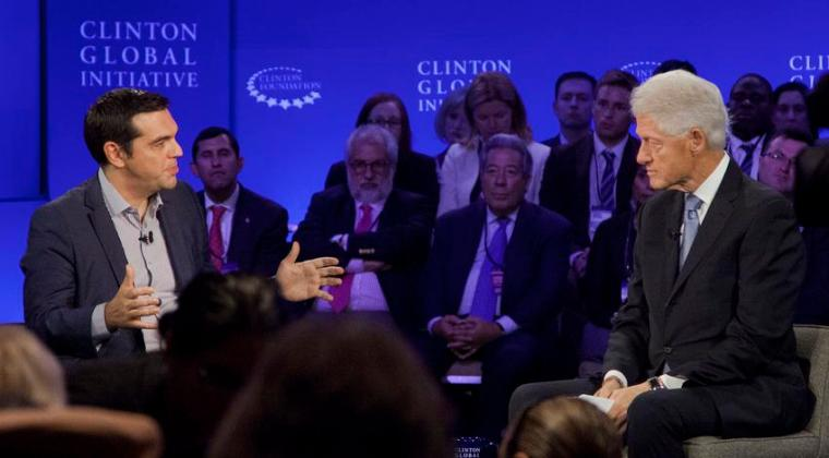 Greek Prime Minister Alexis Tsipras, left, participates in an interview with former President Bill Clinton, Sunday, Sept. 27, 2015 at the Clinton Global Initiative in New York.