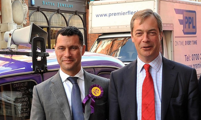 (left to right) UKIP candidates Steven Woolfe, party leader Nigel Farage, Richard, Earl of Bradford and Lawrence Webb arrive at the launch of the party's London Mayoral manifesto in central London.