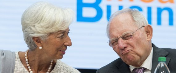 German Finance Minister Wolfgang Schauble speaks with IMF Managing Director Christine Lagarde