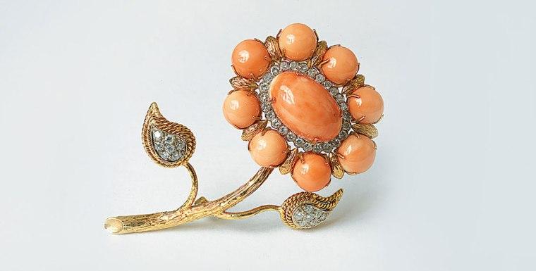The Maria Callas coral and diamond brooch.