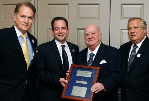 Reince Priebus [2L] receiving the 2012 Livanos Award in Washington. Right, Philip Christopher, PSEKA.
