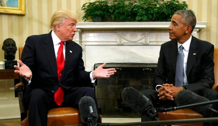 U.S.  President Barack Obama meets with President-elect Donald Trump to discuss transition plans in the White House Oval Office in Washington, U.S., November 10, 2016.