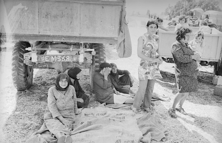 16th August 1974:  A group of old women and children seek refuge during a period of fighting between Greek and Turkish Cypriots.  (Photo by Reg Lancaster/Express/Getty Images)