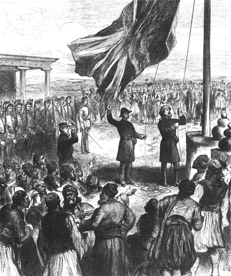 Hosting the British flag in Nicosia; wood engraving Illustrated London News, 1878 Έπαρση της Βρετανικής σημαίας στην Λευκωσία, Ξυλογραφία, Illustrated London News, 1878