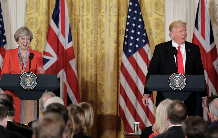 President Donald Trump reacts to a questions from the media during a joint news conference with British Prime Minister Theresa May in the East Room of the White House White House in Washington, Friday, Jan. 27, 2017. (AP Photo/Pablo Martinez Monsivais)