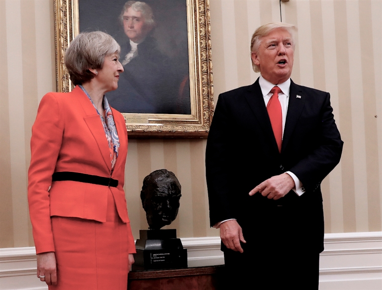 President Donald Trump meets with British Prime Minister Theresa May, Friday, Jan. 27, 2017, in the Oval Office of the White House in Washington. (AP Photo/Pablo Martinez Monsivais)