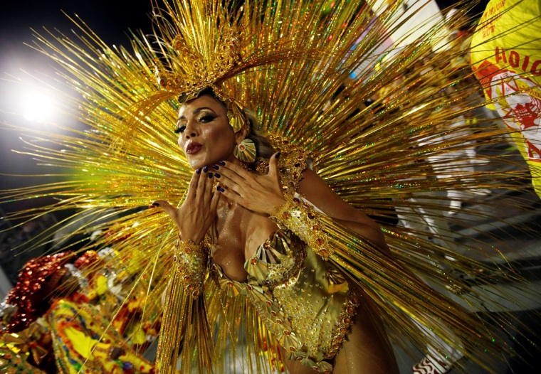 A reveller parades for the Tom Maior samba school during the carnival in Sao Paulo, Brazil, February 24, 2017. REUTERS/Paulo Whitaker TPX IMAGES OF THE DAY