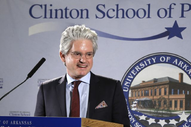 David Brock, founder of Correct the Record, speaks at the Clinton School of Public Service in Little Rock, Ark., Tuesday, March 25, 2014. (AP Photo/Danny Johnston)
